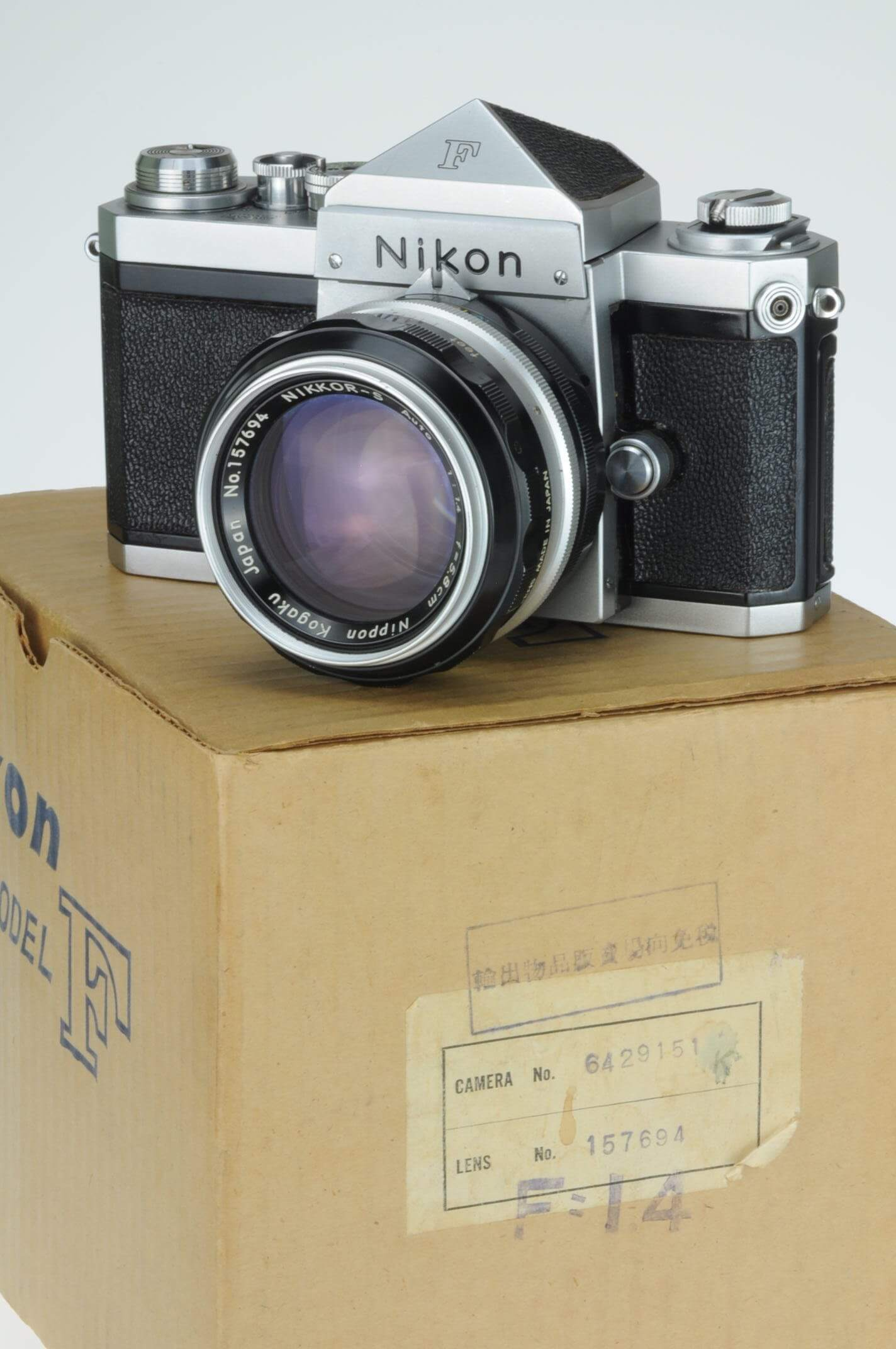 Nikon F with 5.8cm f1.4 lens, purchased together in 1961, with box, stunning!