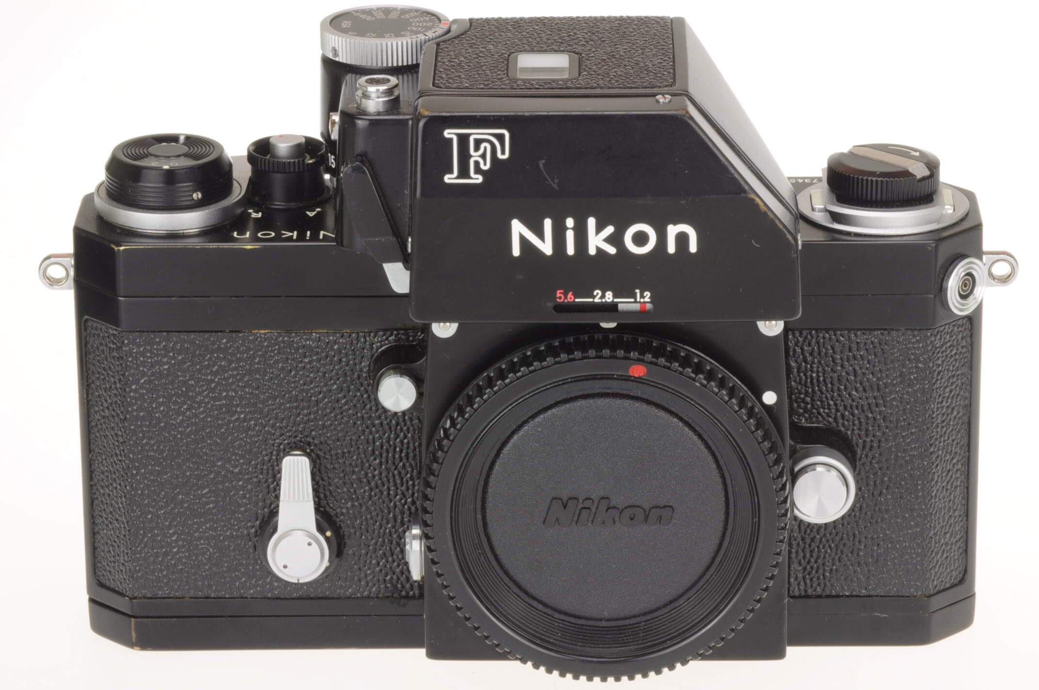 Nikon F body with metered head, black, superb condition!