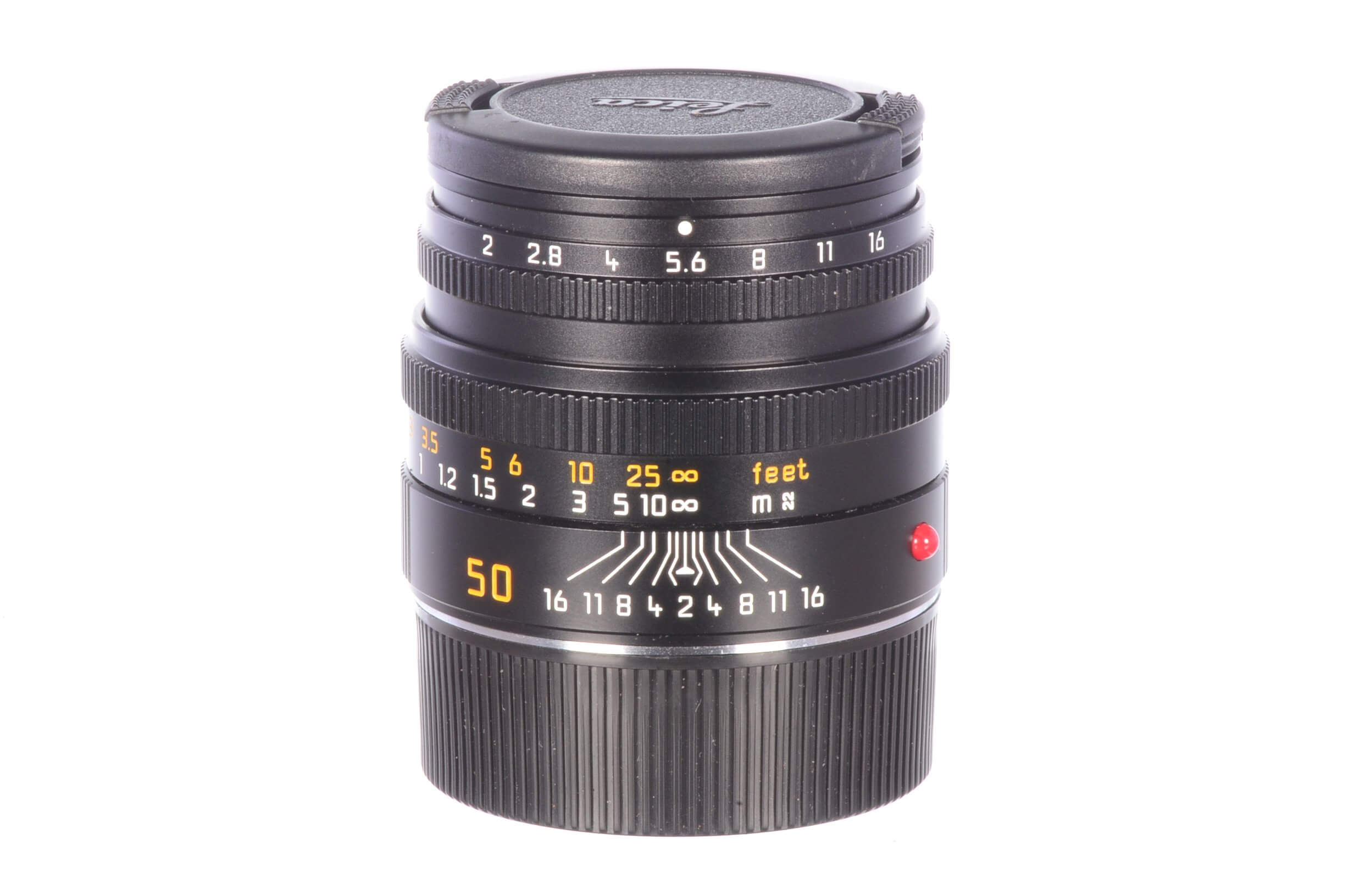 Leica 50mm f2 Summicron M, 6-bit, built-in hood, MINT